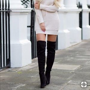 Knee high boots - black suede